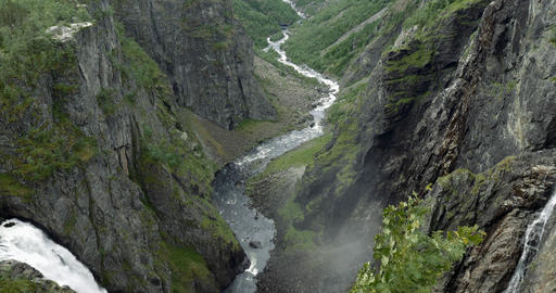 4K, Gorge, Voringsfossen Waterfall, Norway Footage