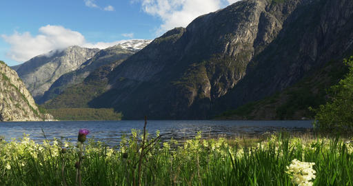 4K, Lake Eidfjordvatnet, Norway Stock Video Footage