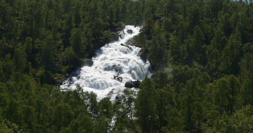 4K, Waterfall in the woods, Norway Stock Video Footage