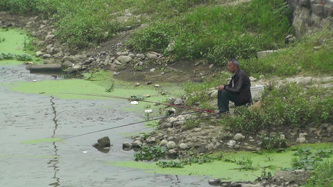 Fisherman in Sichuan China Footage