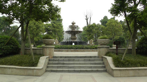 European Style Park Fountain in Sichuan China 1 Footage