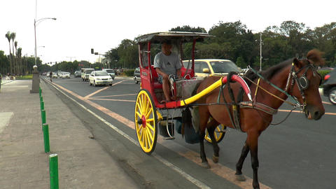 carriage and cars in manila street Footage