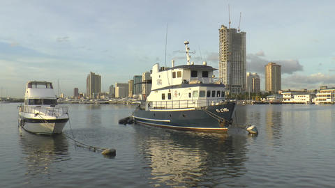 docked boats at manila bay Footage
