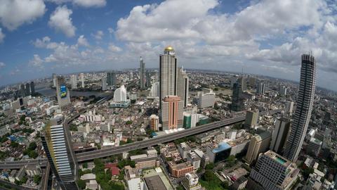 Bangkok Time Lapse (fisheye) Highway Traffic, Skyl Stock Video Footage