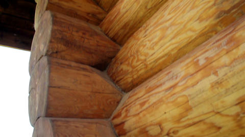 Closeup view of the corners of the cabin log house Footage