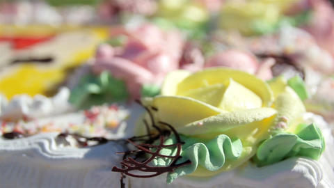 Slicing a cake with flower designs Stock Video Footage