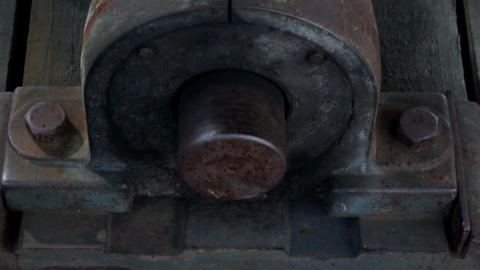 Close image of the steel bolt in the beam rusty bi Stock Video Footage