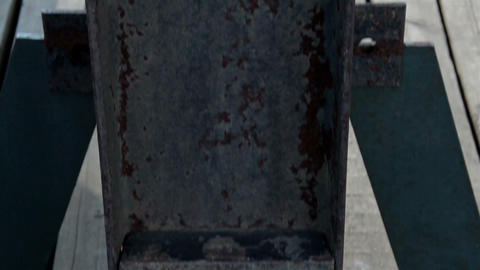 Close image of the steel bolt in the beam rusty bi Footage