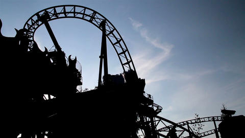 Moving Roller Coaster Ride view dark afternoon Footage