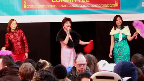 Three Asian women singing on the stage 2 Footage