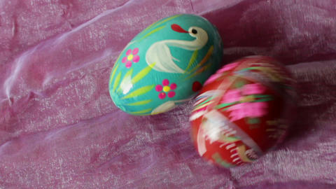 The collision of two Easter eggs - close up Stock Video Footage
