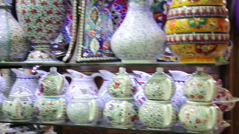 Steadycam - interior of Grand Bazaar, Istanbul, Tu Stock Video Footage