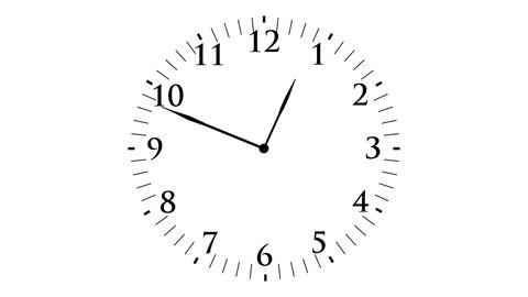Animation, clock time with seconds, white backgrou Animation