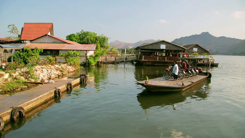 KANCHANABURI, THAILAND - FEBRUARY 2014: Commuter p Stock Video Footage
