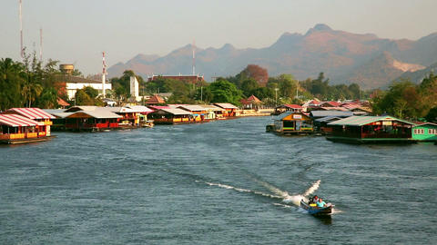 kanchanaburi city vew, thailand Stock Video Footage