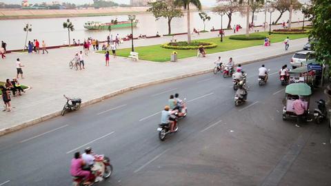 PHNOM PENH, CAMBODIA - FEBRUARY 2014: everyday tra Stock Video Footage