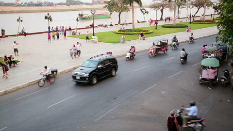 PHNOM PENH, CAMBODIA - FEBRUARY 2014: everyday tra Footage