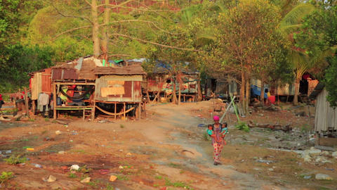 KOH RONG, CAMBODIA - MARCH 2014: tranquil village  Footage