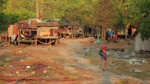 KOH RONG, CAMBODIA - MARCH 2014: tranquil village Stock Video Footage