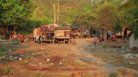 Cambodian tranquil village houses in rural life Footage
