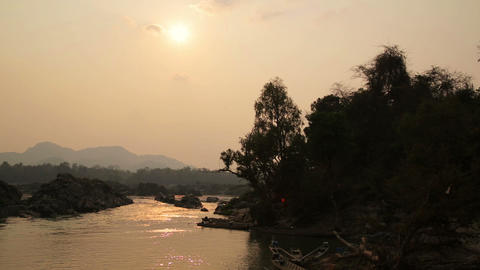 Lao cambodia border mekong river, around 4000 isla Stock Video Footage