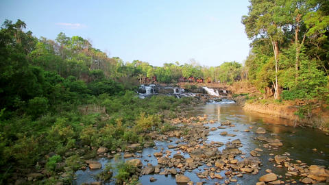 Tad Lo Village Waterfall, Pakse, Laos Stock Video Footage
