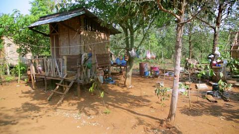 poor lao village houses in rural life, Laos Footage