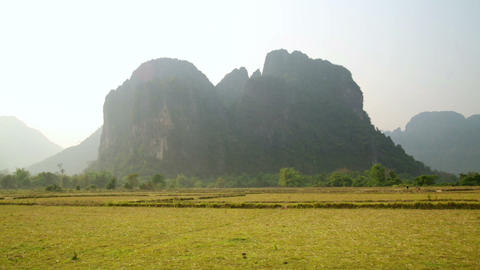 Backpacker heaven, Vang Vieng with limestone mount Footage
