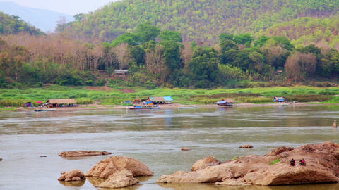 Tranquil View of Mekong River, Luang Prabang, Laos Footage