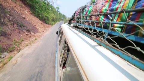PONGSALI, LAOS - APRIL 2014: passenger journey roo Stock Video Footage