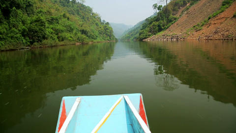 Boat Trip at Mekong River, Pongsali, Laos Stock Video Footage