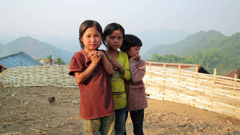 PONGSALI, LAOS - APRIL 2014: native Akha kids Footage