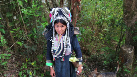 PONGSALI, LAOS - APRIL 2014: native Akha woman car Stock Video Footage