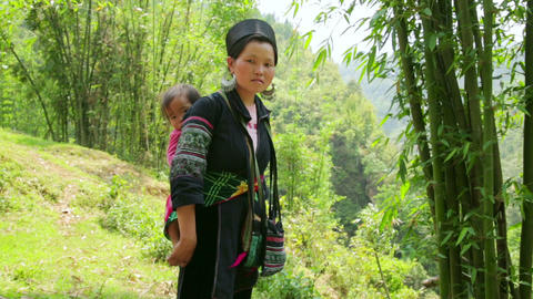 SAPA, VIETNAM - MAY 2014: tribal native Akha woman Footage