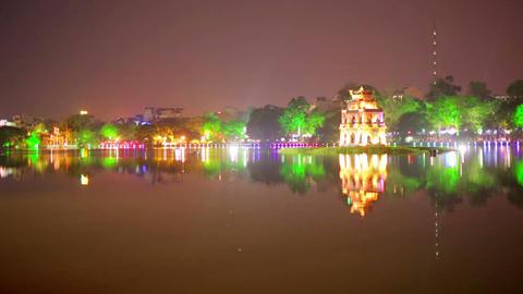 Hoan Kiem Lake and Huc Bridge, Hanoi, Vietnam Footage