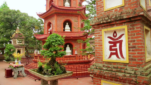 Hanoi, Vietnam, Tran Quoc Temple Pagoda Footage