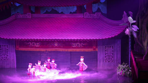 water puppet show, hanoi, vietnam Footage