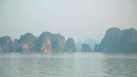 limestone mountain islands, Halong Bay, Vietnam Footage