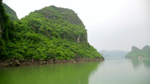limestone mountain islands, Halong Bay, Vietnam Stock Video Footage