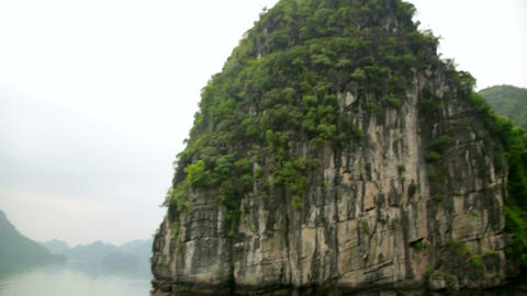 limestone mountain islands, Halong Bay, Vietnam Footage