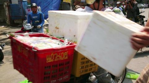 HALONG BAY, VIETNAM - MAY 2014: Carrying market wi Footage