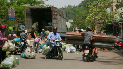 HALONG BAY, VIETNAM - MAY 2014: Carrying market wi Footage
