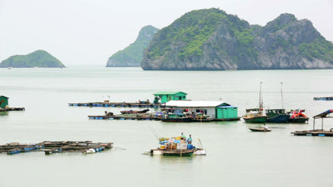 floating village at limestone islands, Halong Bay, Footage
