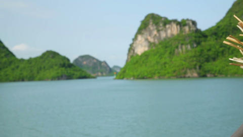 Tourist girl on boat at Halong Bay, Vietnam Stock Video Footage