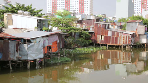 SAIGON, VIETNAM - MAY 2014: fishing in city slums Footage