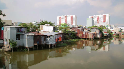 SAIGON, VIETNAM - MAY 2014: city slums Footage