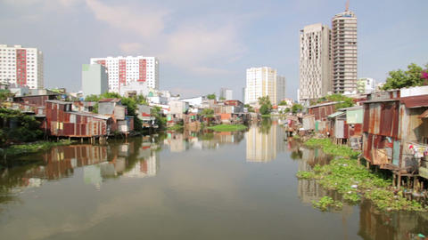 SAIGON, VIETNAM - MAY 2014: city slums Stock Video Footage