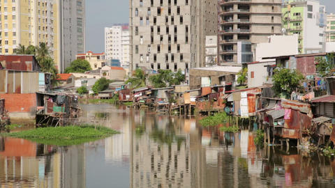 Ho Chi Minh City slums by river, Saigon, Vietnam Stock Video Footage