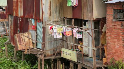 SAIGON, VIETNAM - MAY 2014: city slums Stock Video Footage