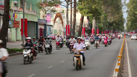 SAIGON, VIETNAM - MAY 2014: motorbike traffics Footage